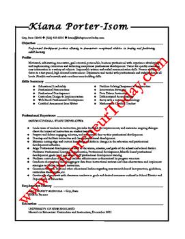 Professional Development Specialist (Sample Resume)