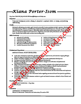 Professional Development Specialist (Sample Resume)