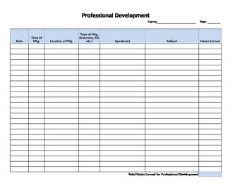 Professional Development Spreadsheet for Tracking Hours