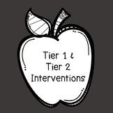 Professional Development Tier 1 & Tier 2 Interventions (RTI)