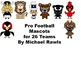 Professional Football Mascots --  Clipart Personal or Commercial Use