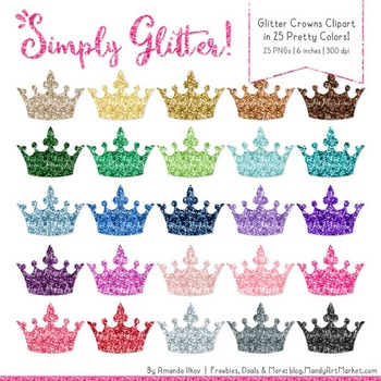 Professional Glitter Crowns Clipart - Glitter Crown, Glitter Clipart