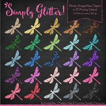 Professional Glitter Dragonflies Clipart - Glitter Dragonfly, Glitter Clipart