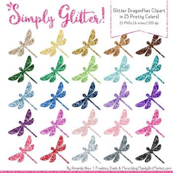 Professional Glitter Dragonflies Clipart - Glitter Dragonf