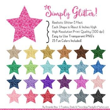 Professional Glitter Stars Clipart - Glitter Stars, Glitter Clipart
