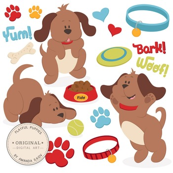 Professional Large Puppy Dog Clipart & Vector Set - Cute Dog Clip Art