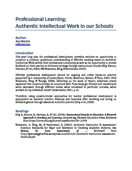 Professional Learning:  Authentic Intellectual Work in our Schools