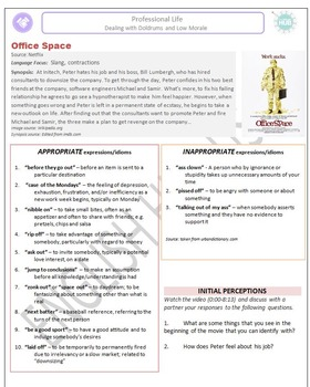 Professional Life (C): Office Space Movie (Slang and Contractions)  (Adult ESL)