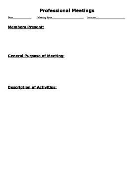 Professional Meeting Record Sheet