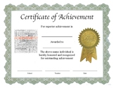 "Professional PDF Editable Certificate in Color ""Achievement"""