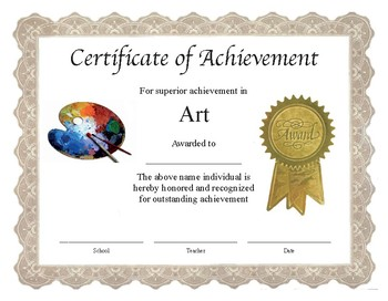 "Professional PDF Editable Certificate in Color ""Art"""