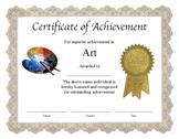 "Professional PDF Editable Certificate in Color ""Art"""