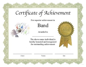 "Professional PDF Editable Certificate in Color ""Band"""