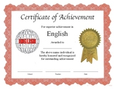 """Professional PDF Editable Certificate in Color for """"English"""""""