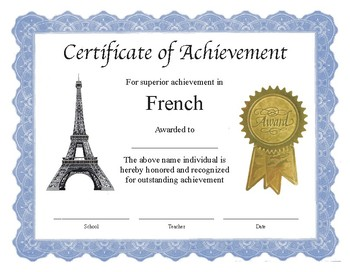 "Professional PDF Editable Certificate in Color for ""French"""