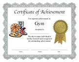 "Professional PDF Editable Certificate in Color for ""Gym"""