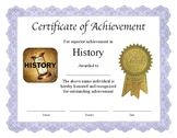 """Professional PDF Editable Certificate in Color for """"History"""""""
