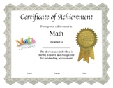 """Professional PDF Editable Certificate in Color for """"Math"""""""