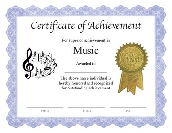 """music certificates pdf  Professional PDF Editable Certificate in Color for """"Music"""" by ..."""