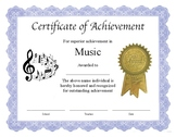 """Professional PDF Editable Certificate in Color for """"Music"""""""