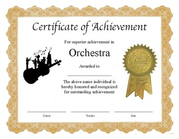 "Professional PDF Editable Certificate in Color for ""Orchestra"""