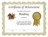 """Professional PDF Editable Certificate in Color for """"Reading"""""""