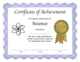 """Professional PDF Editable Certificate in Color for """"Science"""""""