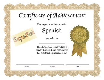 """Professional PDF Editable Certificate in Color for """"Spanish"""""""