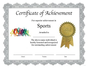 Sports Certificate In Pdf | Professional Pdf Editable Certificate In Color For Sports By