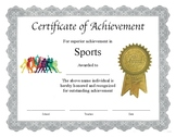 """Professional PDF Editable Certificate in Color for """"Sports"""""""