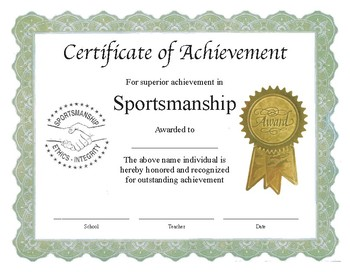 "Professional PDF Editable Certificate in Color for ""Sportsmanship"""