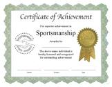 "Professional PDF Editable Certificate in Color for ""Sportsmanship"""