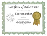 """Professional PDF Editable Certificate in Color for """"Sports"""