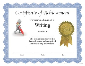 "Professional PDF Editable Certificate in Color for ""Writing"""