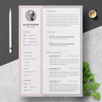 Professional Resume Clean Cv Template With Cover Letter Fashion Designer