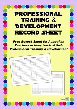 Professional Training and Development Recording Sheet - Australian Teachers