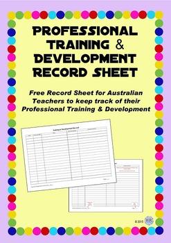 Professional Training and Development Recording Sheet - Au