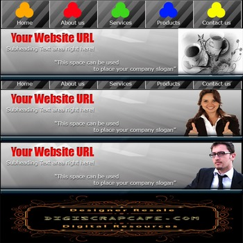 Professional Website Header Package PSD Photoshop Commercial Graphics Template