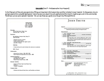 Professionalize Your Resume Activity