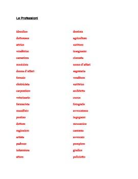 Professioni (Professions in Italian) word scramble