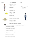"Professions ""Las Profesiones"" 3 wksheets + notes -Spanish I"
