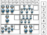 Professions-Mail Carrier themed Match the Number Game. Printable Preschool Game