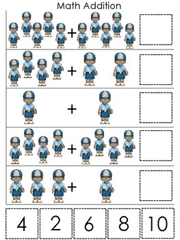 Professions-Mail Carrier themed Math Addition Game. Printable Preschool Game