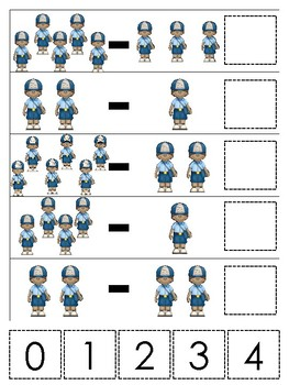 Professions-Mail Carrier themed Math Subtraction Game. Printable Preschool Game