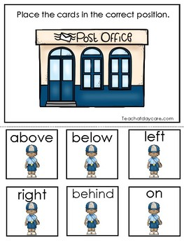 Professions-Mail Carrier themed Positional Word Game. Printable Preschool Game