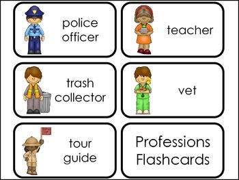Professions Picture Word Flash Cards.