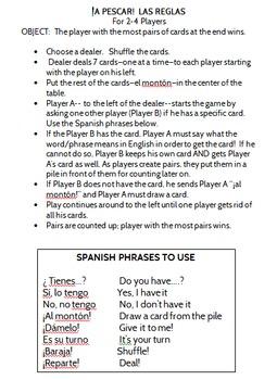 Professions Spanish Go Fish Game