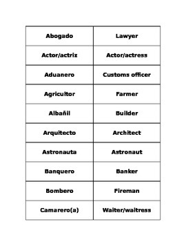 Professions Vocabulary Matching/Flashcards