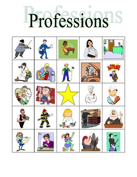 Professions in English Bingo
