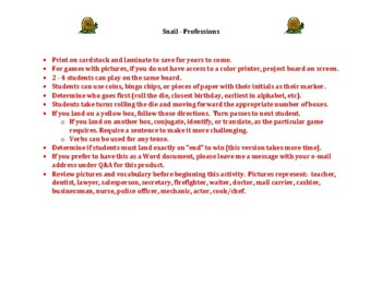 Professions in English Snail game